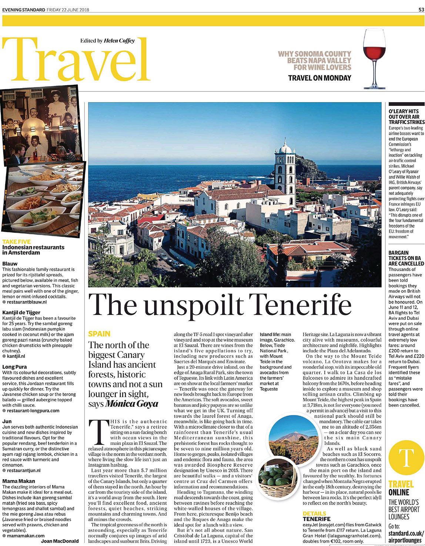 The Unspoilt Tenerife – London Evening Standard 22/06/2018 – Writing