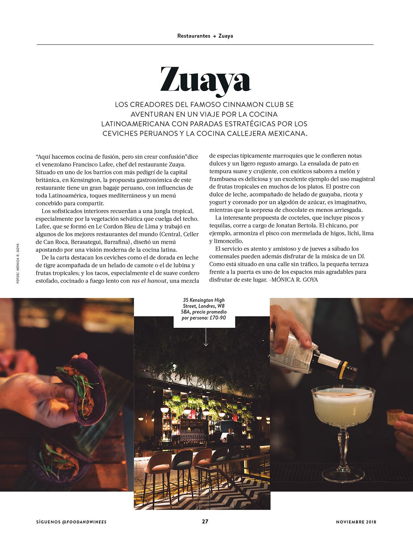 Restaurant review - Food & Wine en español Nov 2018 - Writing & Photography