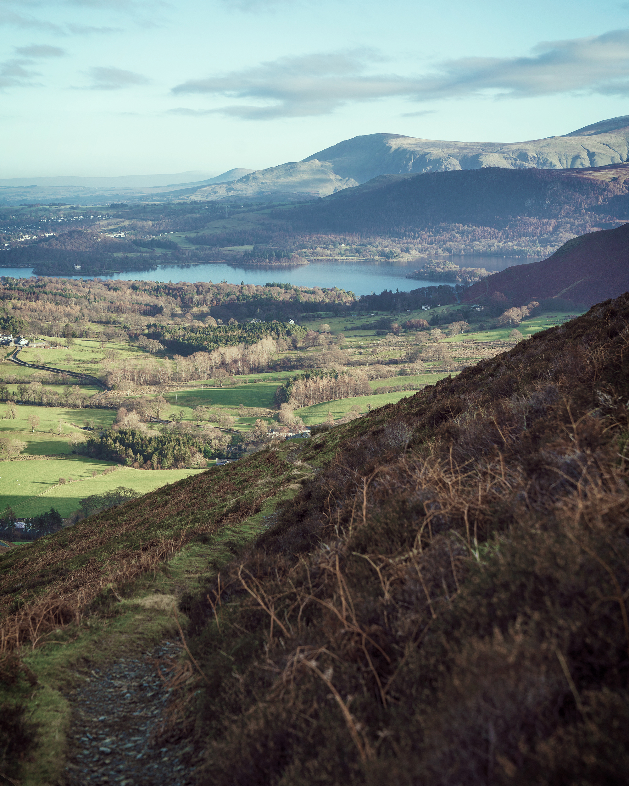 From halfway up Rowling End, looking to Derwent Water.