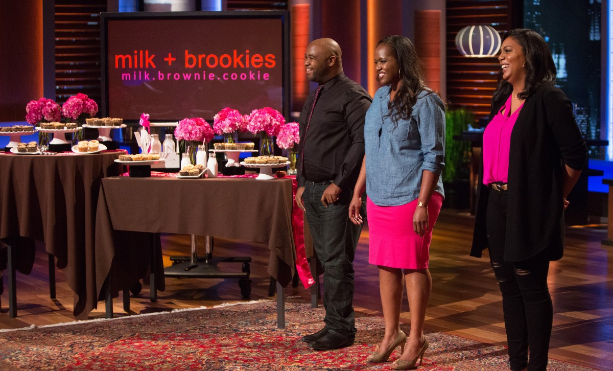 Shark Tank Episode 706: Marques Brooks, Jovon English and Naimah Harris of Milk + Brookies in Los Angeles hope to start a tasty trend with their baked-to-order brownies and cookies mashup. Tisa Smart-Washington was not able to appear. (ABC/Michael Desmond)