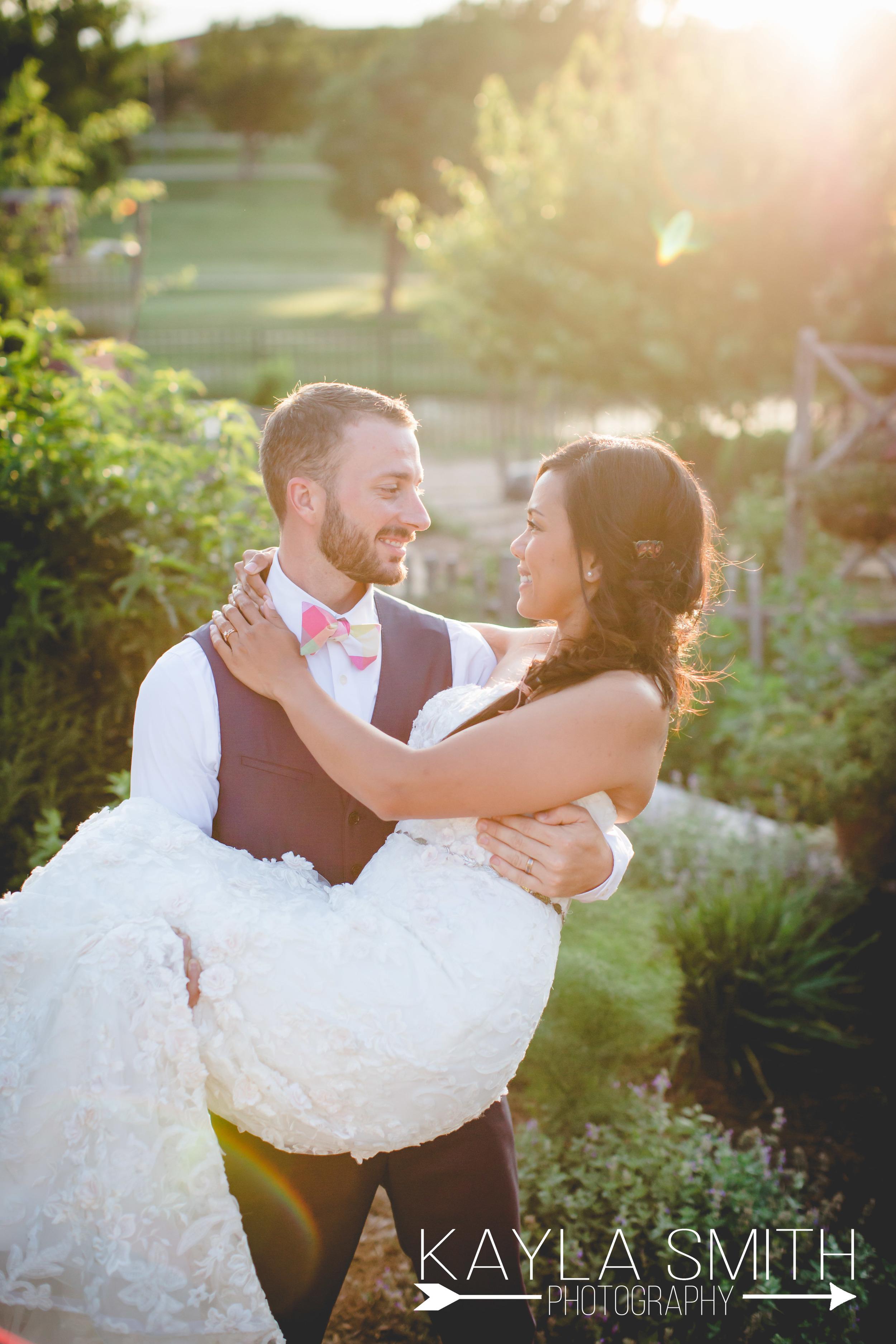 An Amarillo Botanical Garden wedding in the Golden Hour. Perfection.