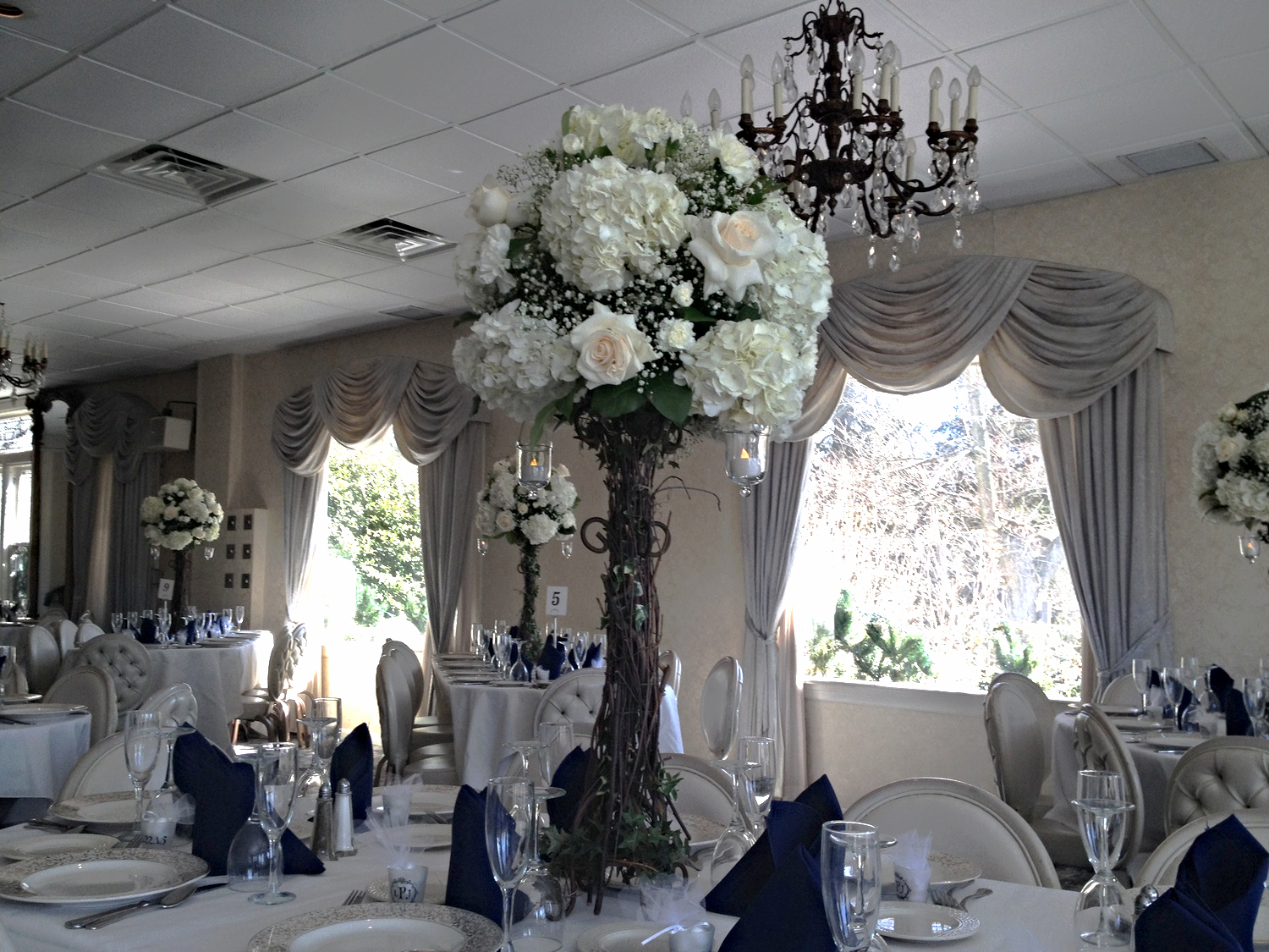 Table Centerpieces at the Wood Cliff Manor, Wood Cliff Lake, NJ
