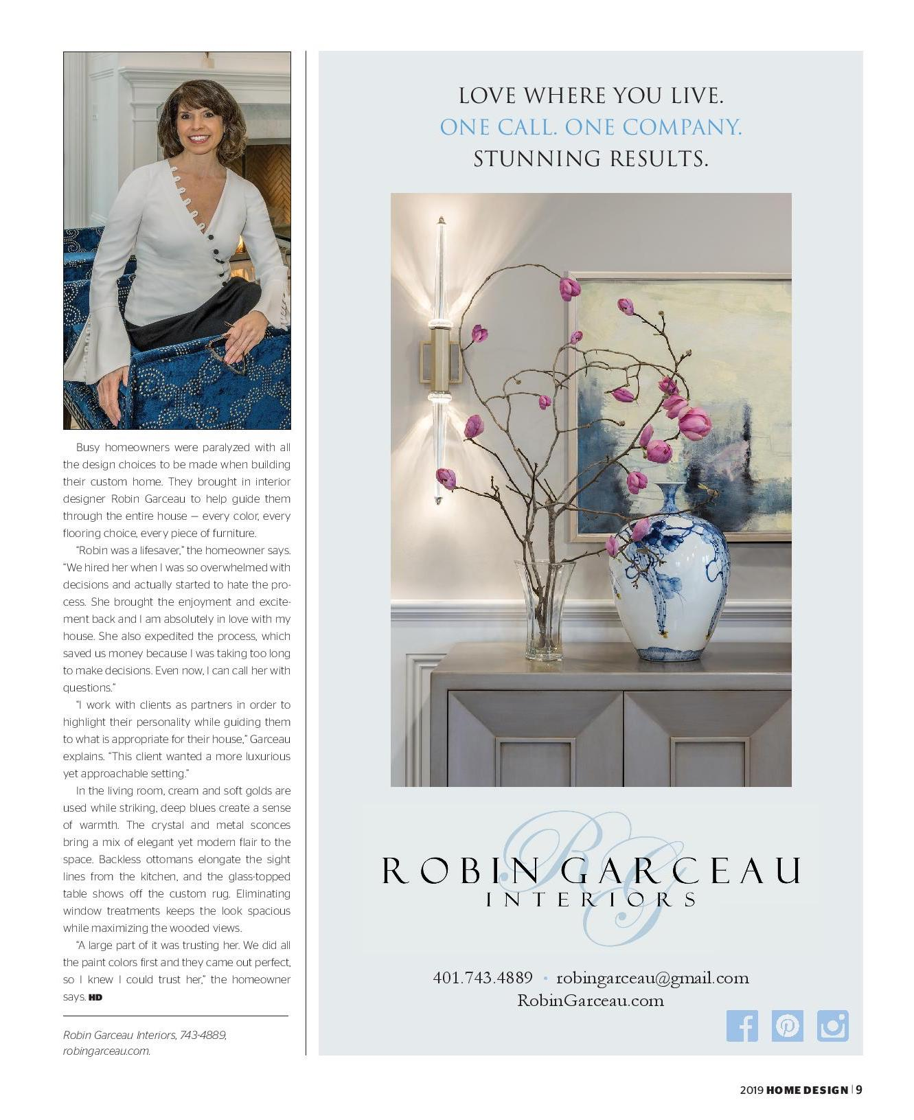 Robin Garceau featured in Rhode Island Home Design Magazine 2019 page 2