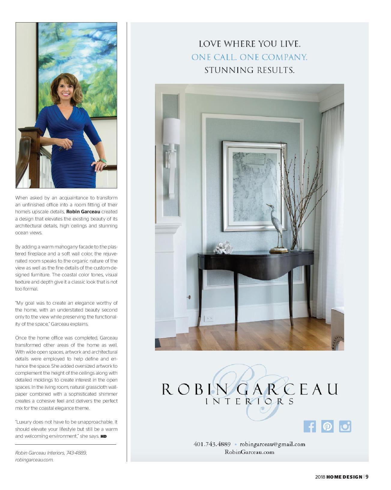Robin Garceau featured in Rhode Island Home Design Magazine 2018 page 2