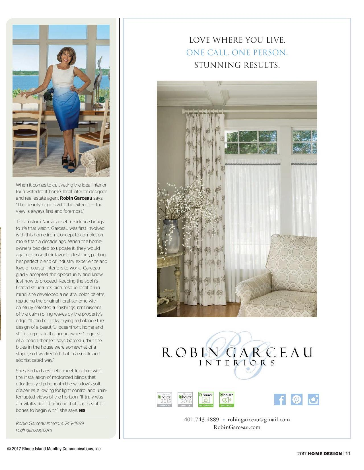 Robin Garceau featured in Rhode Island Home Design Magazine 2017 page 2