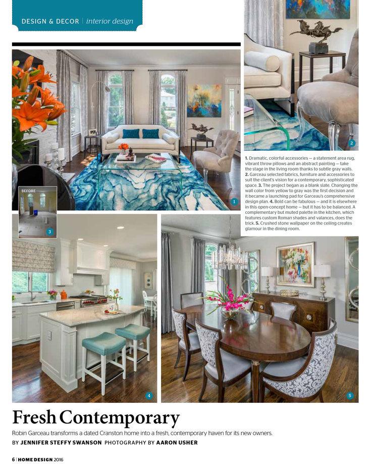 Robin Garceau featured in Rhode Island Home Design Magazine 2016 page 1