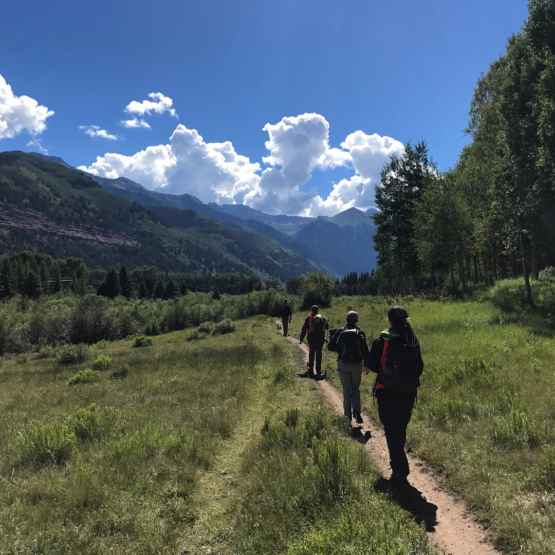 Flippers and crew walk through the Telluride Valley Floor on their way to collect vegetation data.