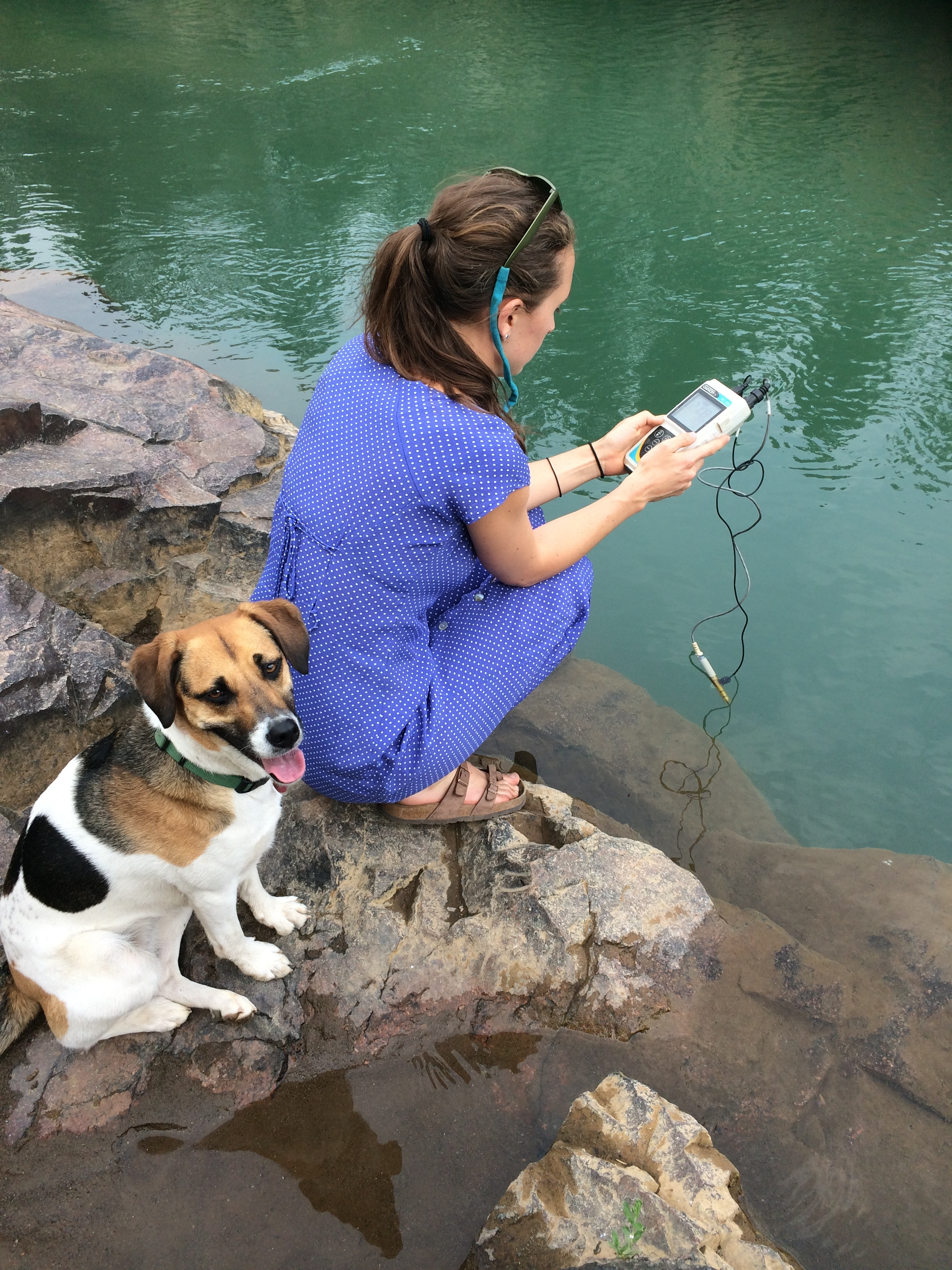 Moki joined Laurel Sebastian in collecting samples and measuring ph, conductivity and temperature of the Animas River and Barker's Bridge, above the confluence with Hermosa Creek.