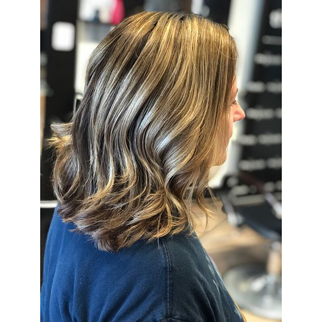 I am looooving this dimension on my aunt Jo!!! We touch up her gray using Paul Mitchell The Color 5n+ and 6g, and each time add just a few highlights to keep her bright through out the summer! We blew her out using Label M volume mousse and added some slight waves! Her hair has never looked better! 😍 I have some openings this week as well as TODAY!!! Call the salon at (216) 281-1887 to book!!! #thestudio #thestudiosalon #thestudioohiocity #ohiocity #cleveland #clevelandhairstylist #clevelandhair #clevelandstylist #haircolor #dimensionalcolor #paulmitchell #paulmitchellthecolor #dimensionalhair #dimensionalblonde #highlights #blondehighlights #balayage #balayagehighlights #blondebalayage #paintedhair #livedinhair #hairgoals #lovewhatyoudo #passion #behindthechair #keepitlocalcle #beautifulhair #clevelandhair #labelmusa #labelm