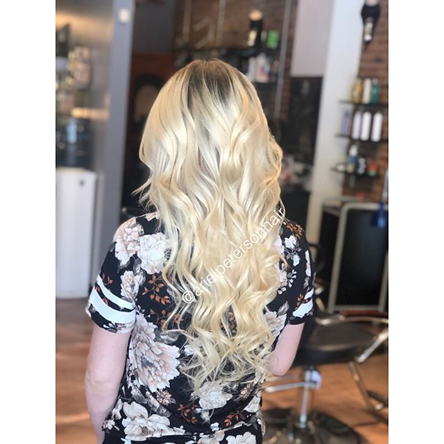 Added some length to this little lady's hair today using 22in @platinumseamless  tape ins! Swipe to see our before!!! She is growing out her blonde so we used their lightest ombré color option for a smooth transition!