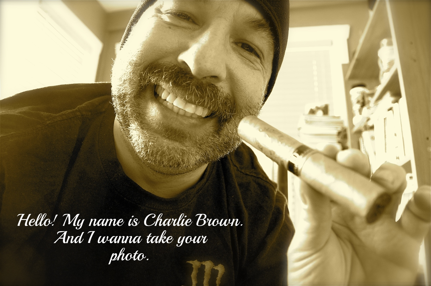Hello! My name is Charlie Brown. And I wanna take your photo.