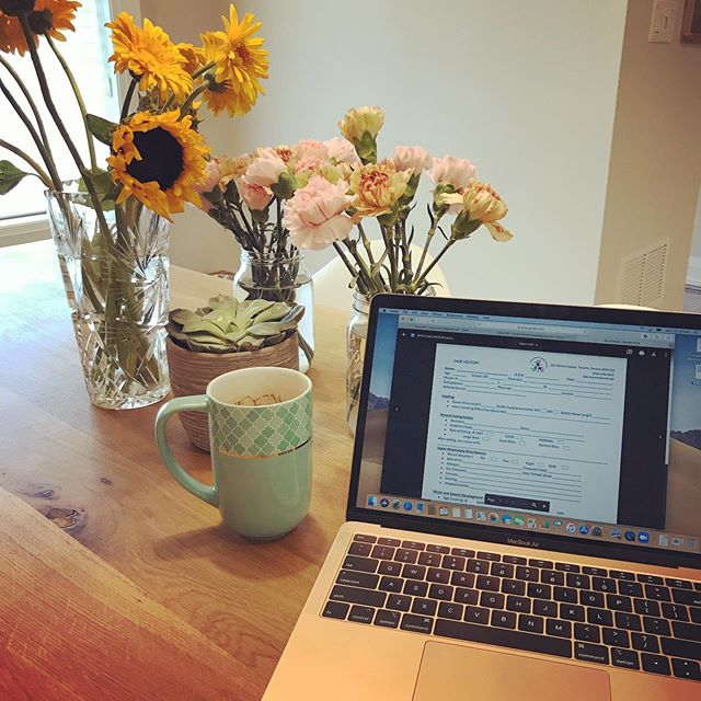 #workingfromhometoday and catching up on paperwork!! It was a busy weekend and I'm tired.... how to get motivated? Must have #coffee and #flowers ! #slp #slplife #pediatrics #pediatricslp #lovewhatyoudo #laptop #work #toronto #light #love #createhappiness #torontomoms #prettythings #mondays
