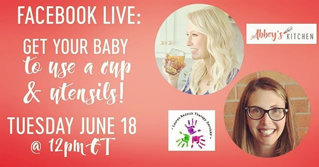 "Looking forward to chatting with @abbeyskitchen today at noon about teaching your little one to use straws and cups! Will also share some of my fave transition cups and ""beginner"" utensils!! #feedingtherapist #cups #straws #babies #toddlers #infants #mamas #pediatrics #slp #slplife #slpmom"