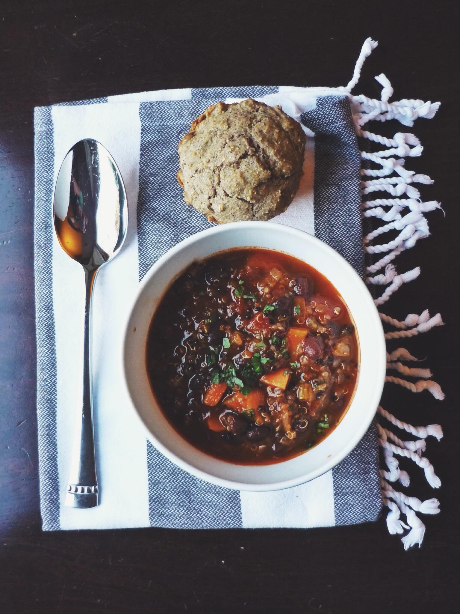 a bowl of sweet potato black bean chili