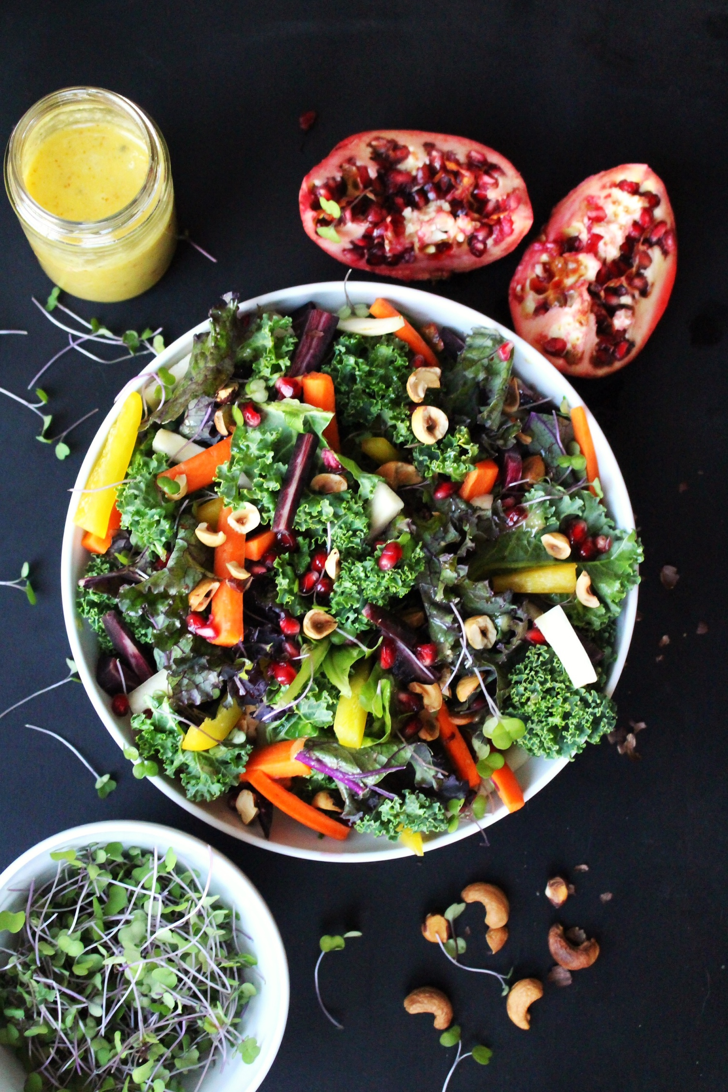 Colorful Kale Salad with Pomegranate Seeds and Roasted Nuts
