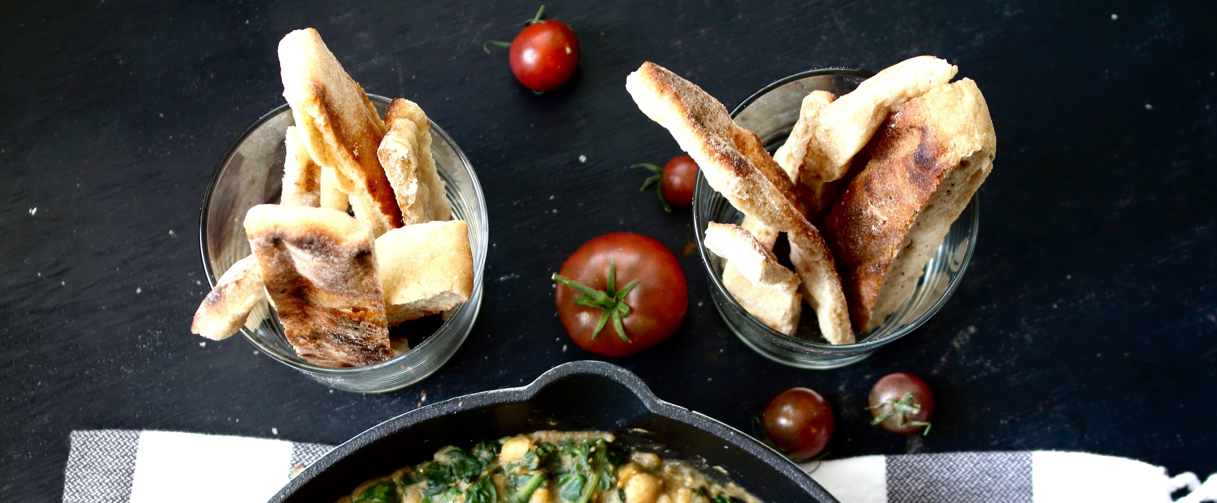 All of It - Spinach Chickpea Cazuela - Pizza dough dipping strips
