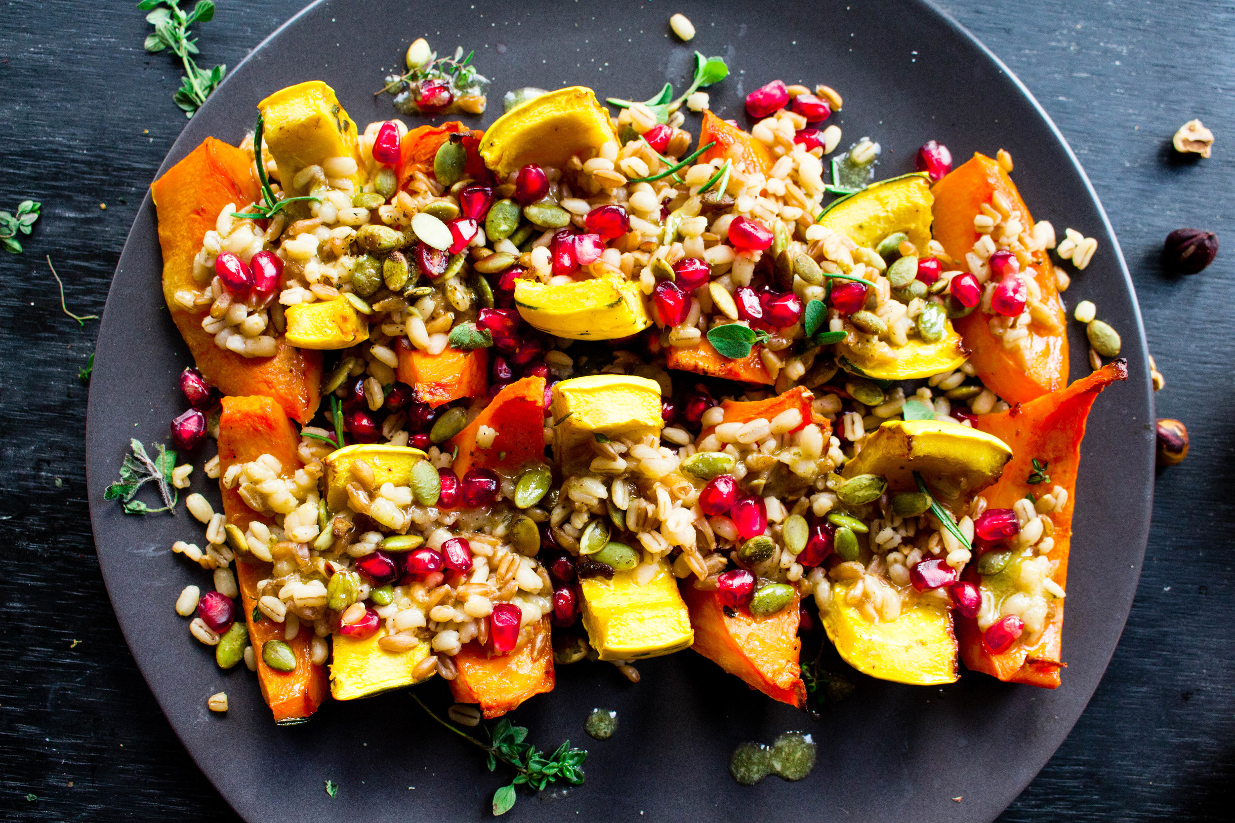 All of It - Thanksgiving Recipes - Roasted Squash with Farro, Toasted Pepitas, Pomegranate