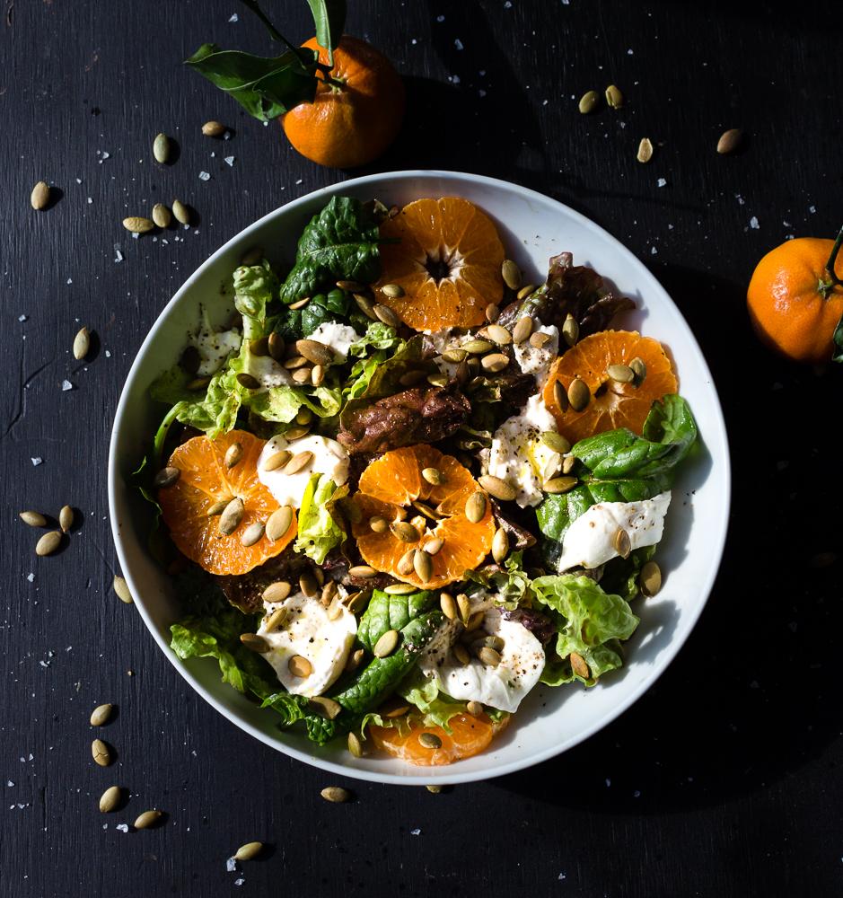 All of It - Fresh Greens, Satsuma Oranges, and Burrata Salad