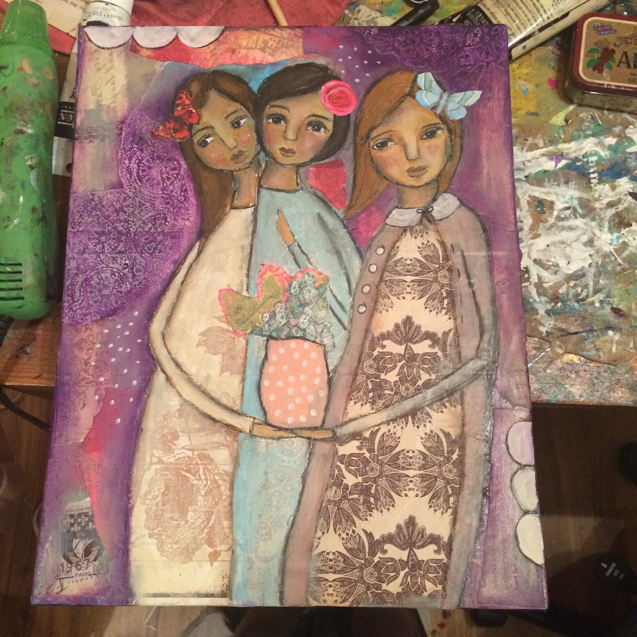 """""""Together They Bloomed"""" 11x14 original mixedmedia on canvas panel by Jennifer Albin"""