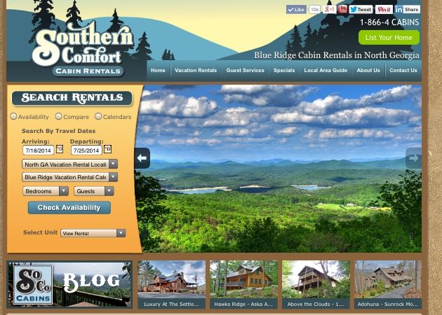 Click below to view a website that has used plenty of photos from Rush Photography to show off the area and to bring more renters to their cabins