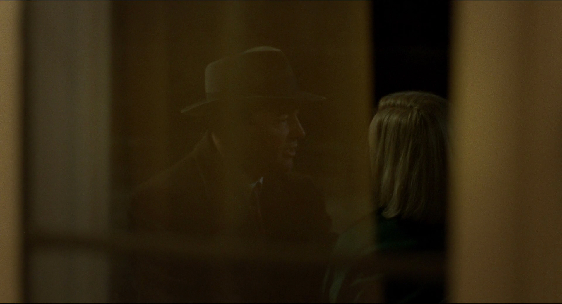 We observe Carol and Harge from Therese's point-of-view. The foreground helps sell the subjectivity.