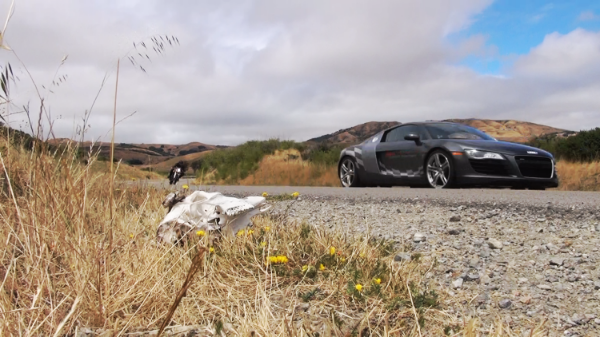 The Ducati chasing the Audi R8 race-car on the Sunday Morning Drive 3D shoot.