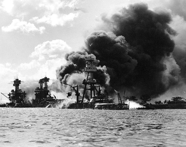 the USS Arizona burning after the attack