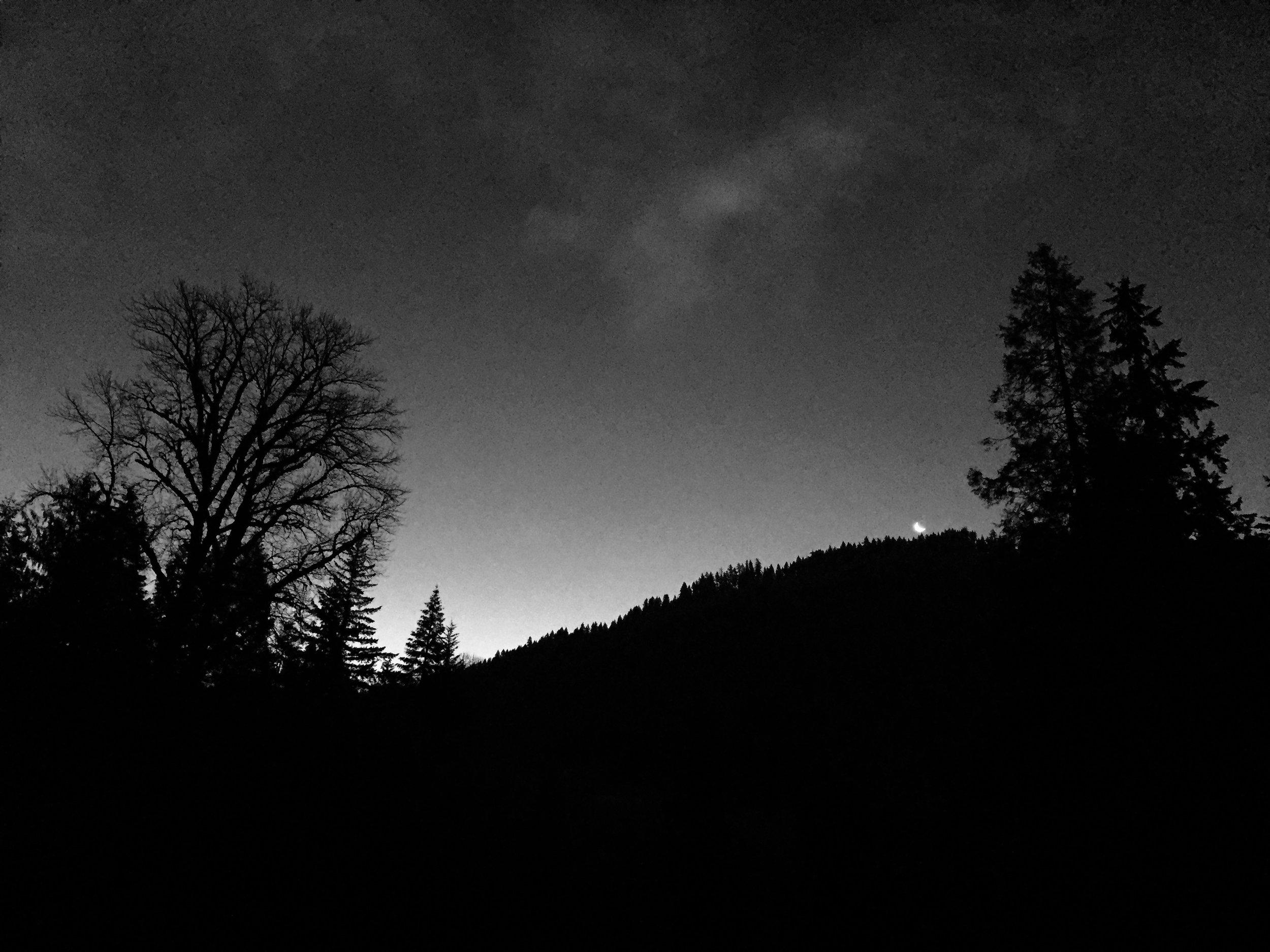 """Moonset over the Mountain"" John Frederick Christmas Morning 2016"