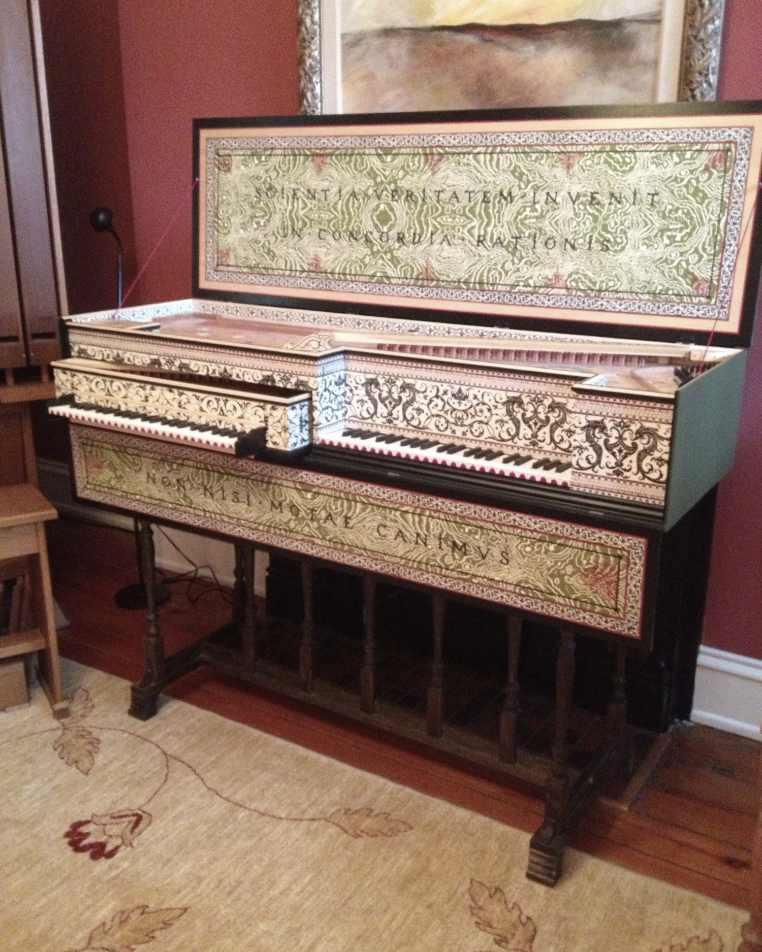 Mother and Child Virginal built by James Campbell, a master early keyboard builder in Newport, Kentucky.