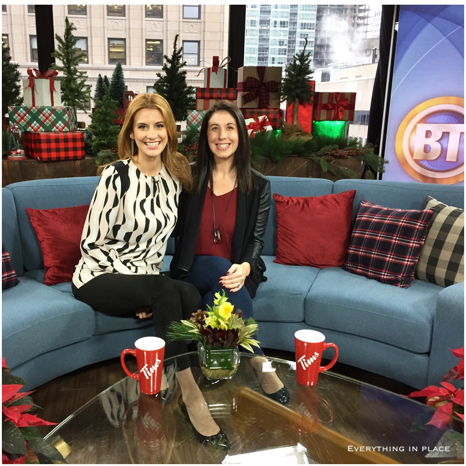 Allison Weigensberg and Joanne Vrakas on the set of Montreal's Breakfast Television