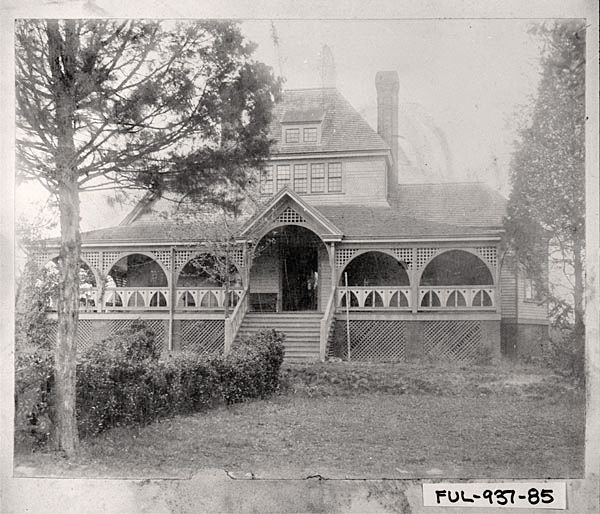 """McMillanwas a huge admirer of his former neighbor & friend Joel Chandler Harris, author of the """"Uncle Remus"""" stories. There were marble rabbits & other carved replicas of critters associated with the books throughout the house and an """"Uncle Remus Spring"""" drinking fountain for passers-by was placed near the main entrance.    Photo c. 1900, the Joel Chandler Harris house (aka The Wren's Nest),  then 1050 Gordon Street.  Photo Credit"""