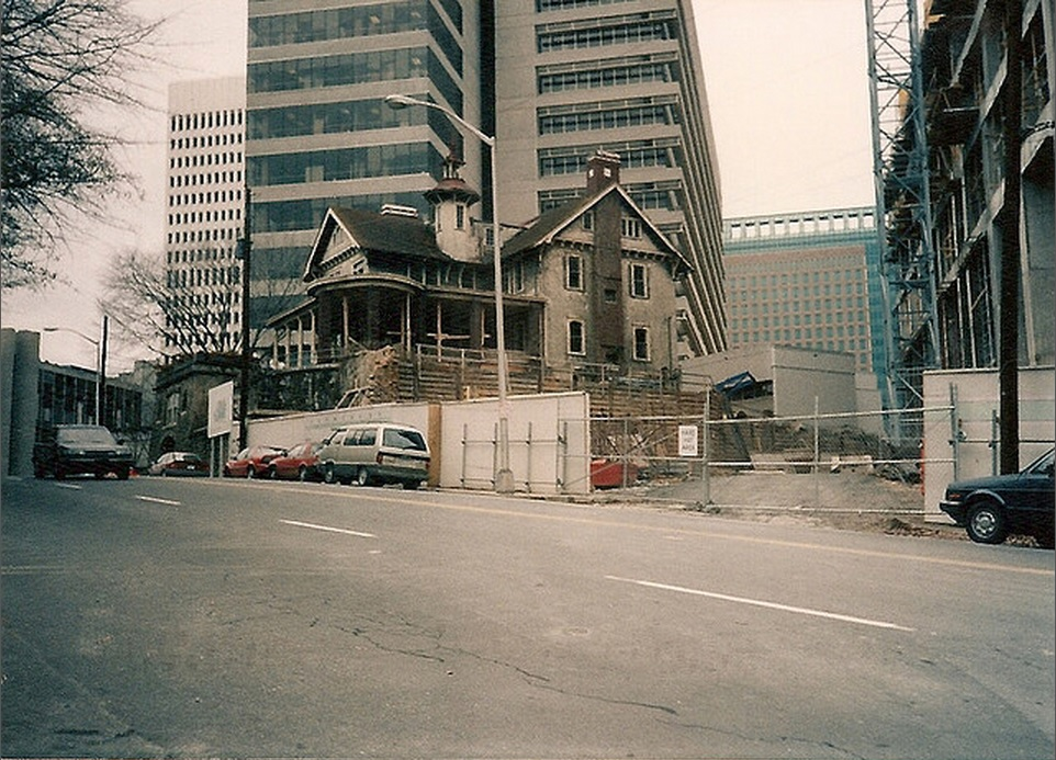 """By the late 1970s, the Castle fell into disrepair and was threatened with demolition. Mayor Andrew Young's comment that it was """"a hunk of junk"""" helped mobilize an outraged citizenry which demanded preservation of the Castle. Those efforts led to the Atlanta Urban Design Commission designating it a City Landmark in 1989. And then it sat, for a while.     Photo  c. 1989"""