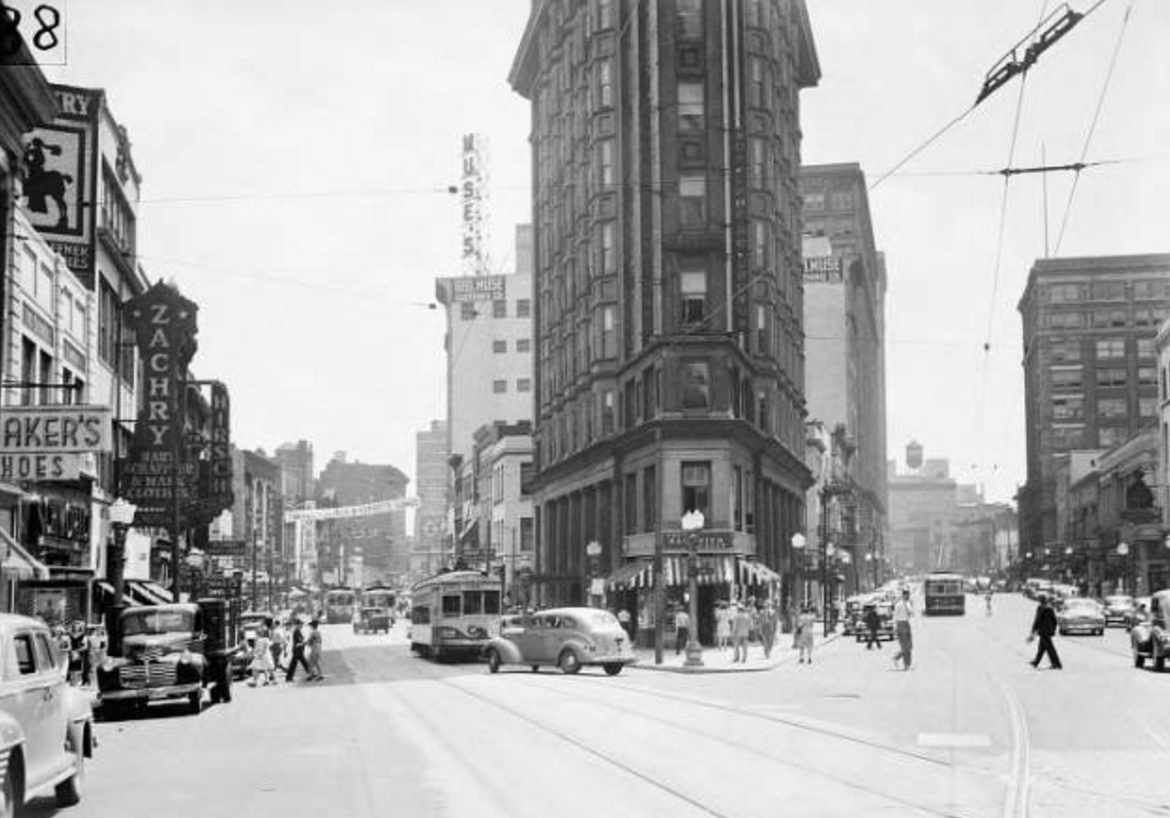 Peachtree Street, Atlanta (looking south toward Flatiron Building), 1944 [GSU Digital Collections]
