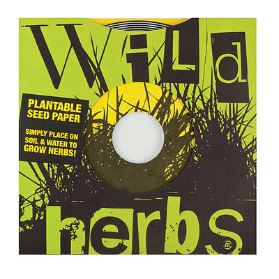 """Wild Herbs Plantable Seed Paper, 2 Discs (45 rpm record 7"""")"""