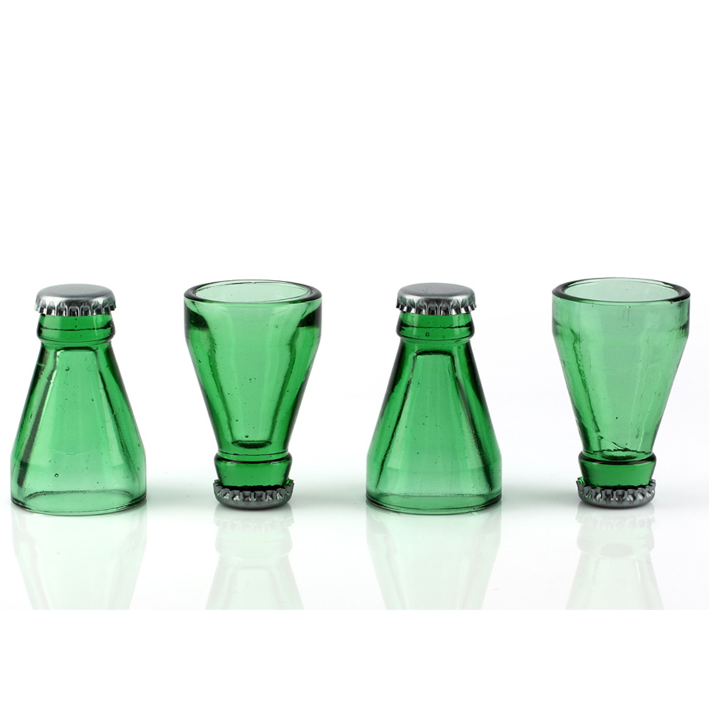Barbuzzo Recycled Beer Bottle Glass Shots, Set of 4