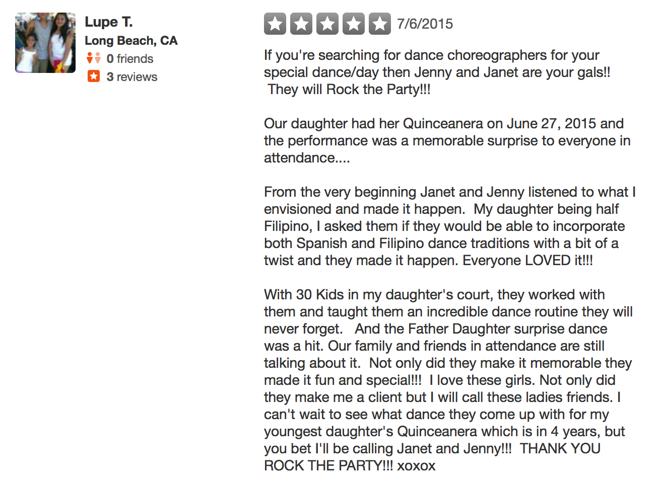 We graciously appreciated their review that got filtered on Yelp. <3