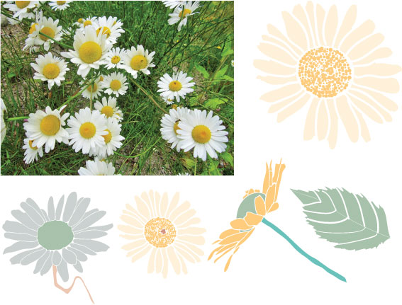 I found this photos of daises and used the blob brush to paint the rough shapes of the flowers and leaves which I then rotated, scaled and layered to create the allover daisy floral print. I'm going to work some more on it to add layers of texture to get it to feel more distressed and less precious.