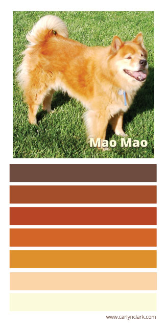 Carlyn Clark's color palette inspired by Mao Mao in honor of National Mutt Day