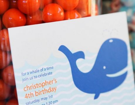 whale themed birthday party invitation from  Project Nursery