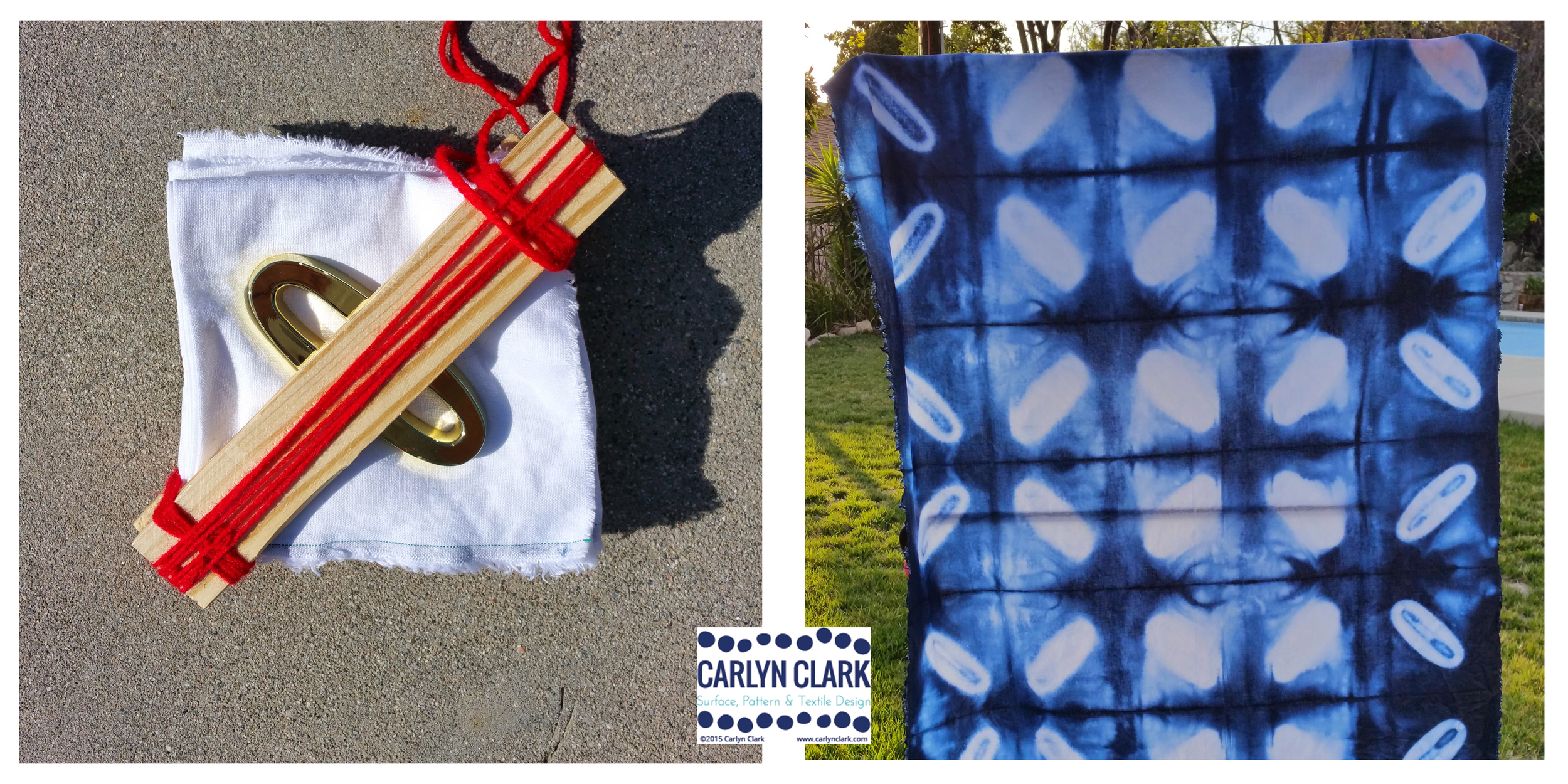 Carlyn Clark's second try at Shibori folding and dyeing.#3, Linen