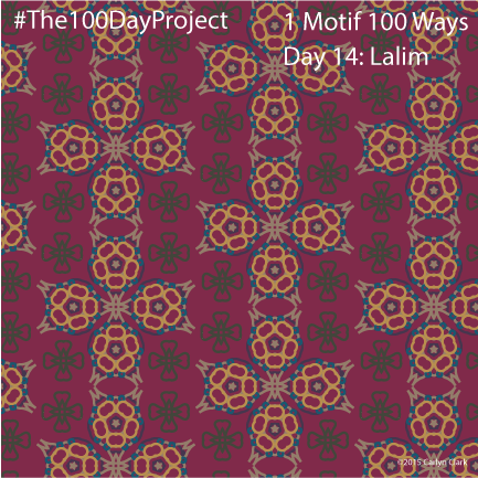 """""""Lalim"""", by Carlyn Clark of """"The 1 Motif 100 Ways"""" series for day 14of """"The 100 Day Project"""""""