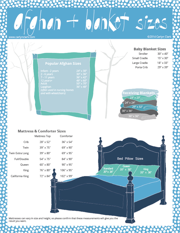 A  downloadable graphic  of popular U.S. mattress, blanket, comforter and afghan sizes for babies, kids and adults created by Carlyn Clark.