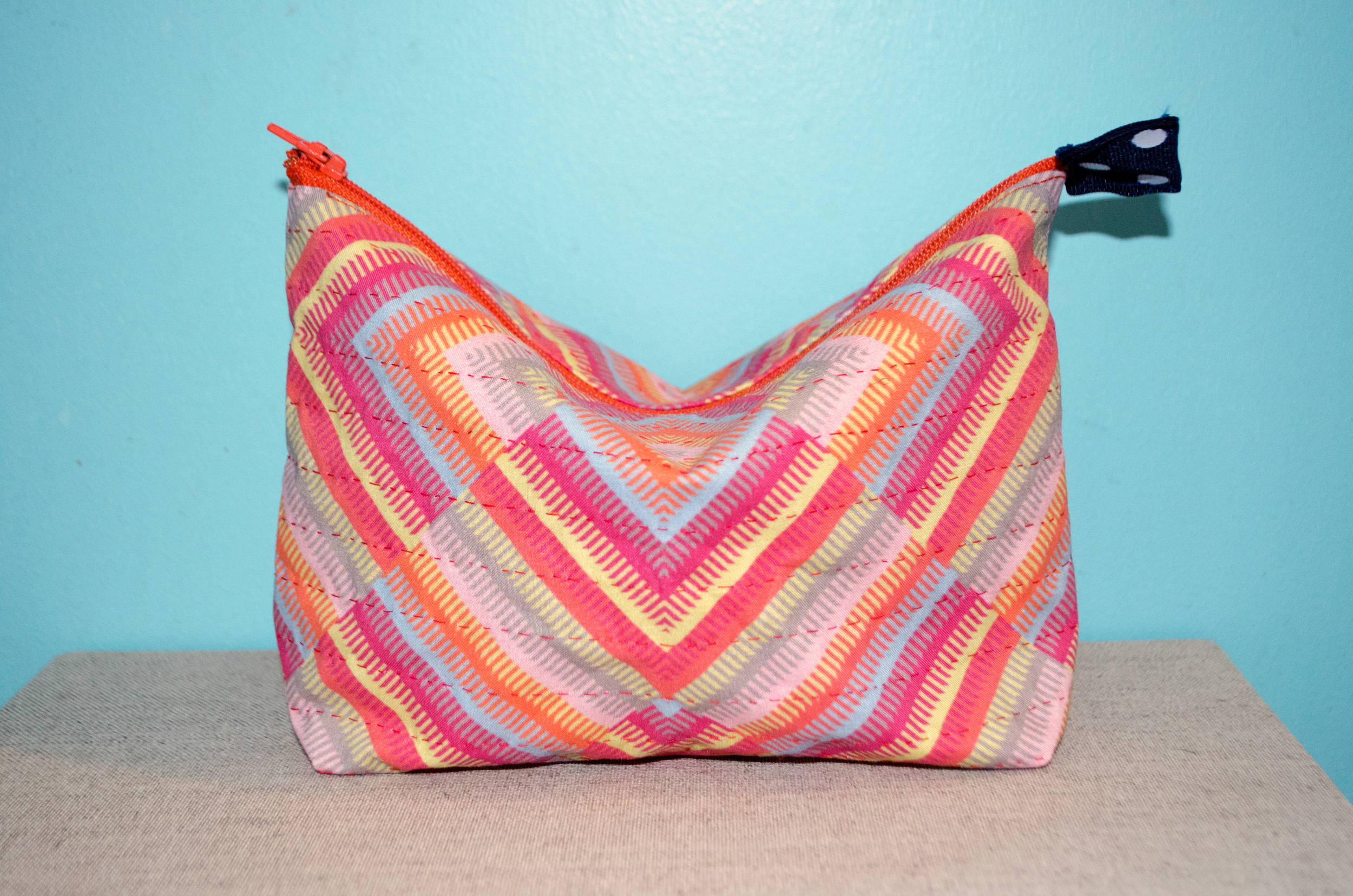 """8 1/2"""" x 5 1/2"""" x 2"""" hand-quilted pouch using a pattern from  Sprout Patterns printed with  Spoonflower fabrics by Carlyn Clark"""