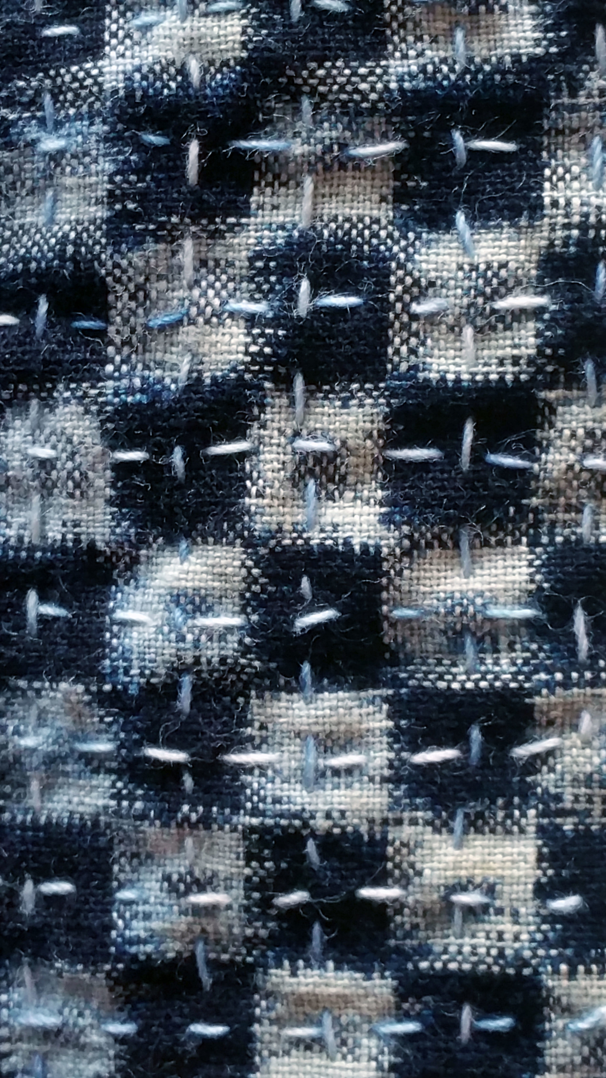 Boro stitching on vintage Japanese Ikat fabric by Carlyn Clark