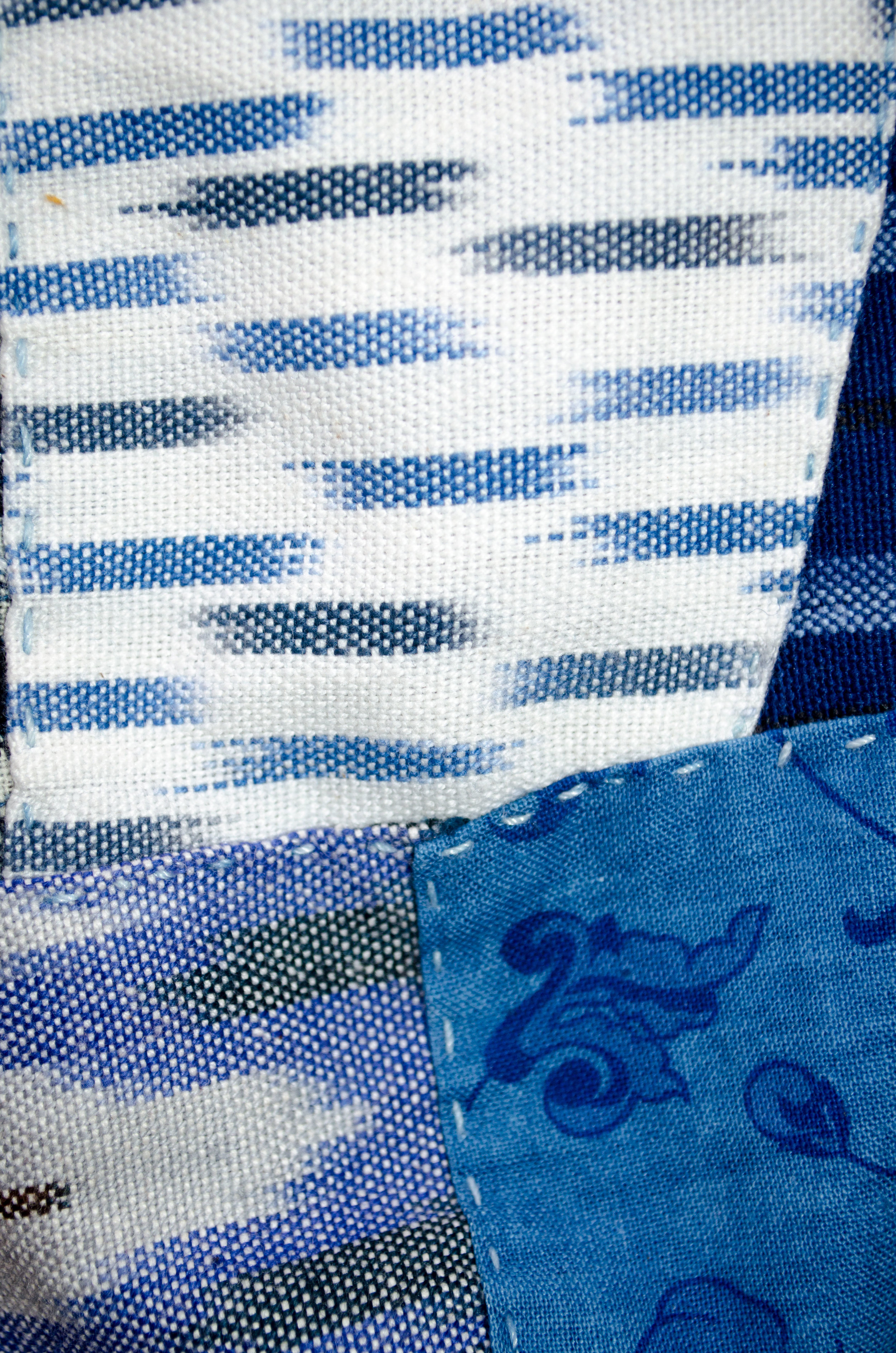 Stitch A Day 2017, Day 12 by Carlyn Clark. Overdyed vintage Laura Ashley cotton
