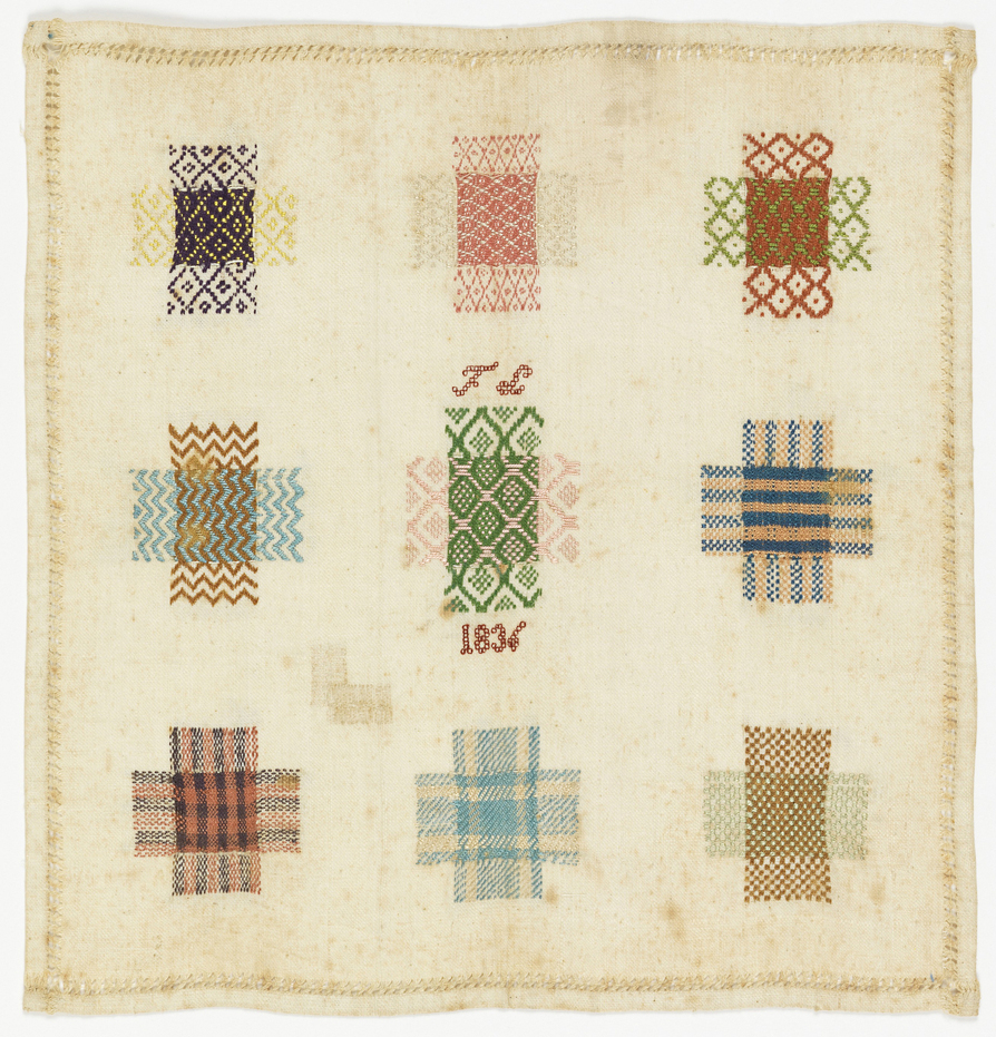Darning Sampler, 1836; silk embroidery, cotton foundation; 24.1 x 23.5 cm (9 1/2 x 9 1/4 in.); Bequest of Gertrude M. Oppenheimer; 1981-28-208