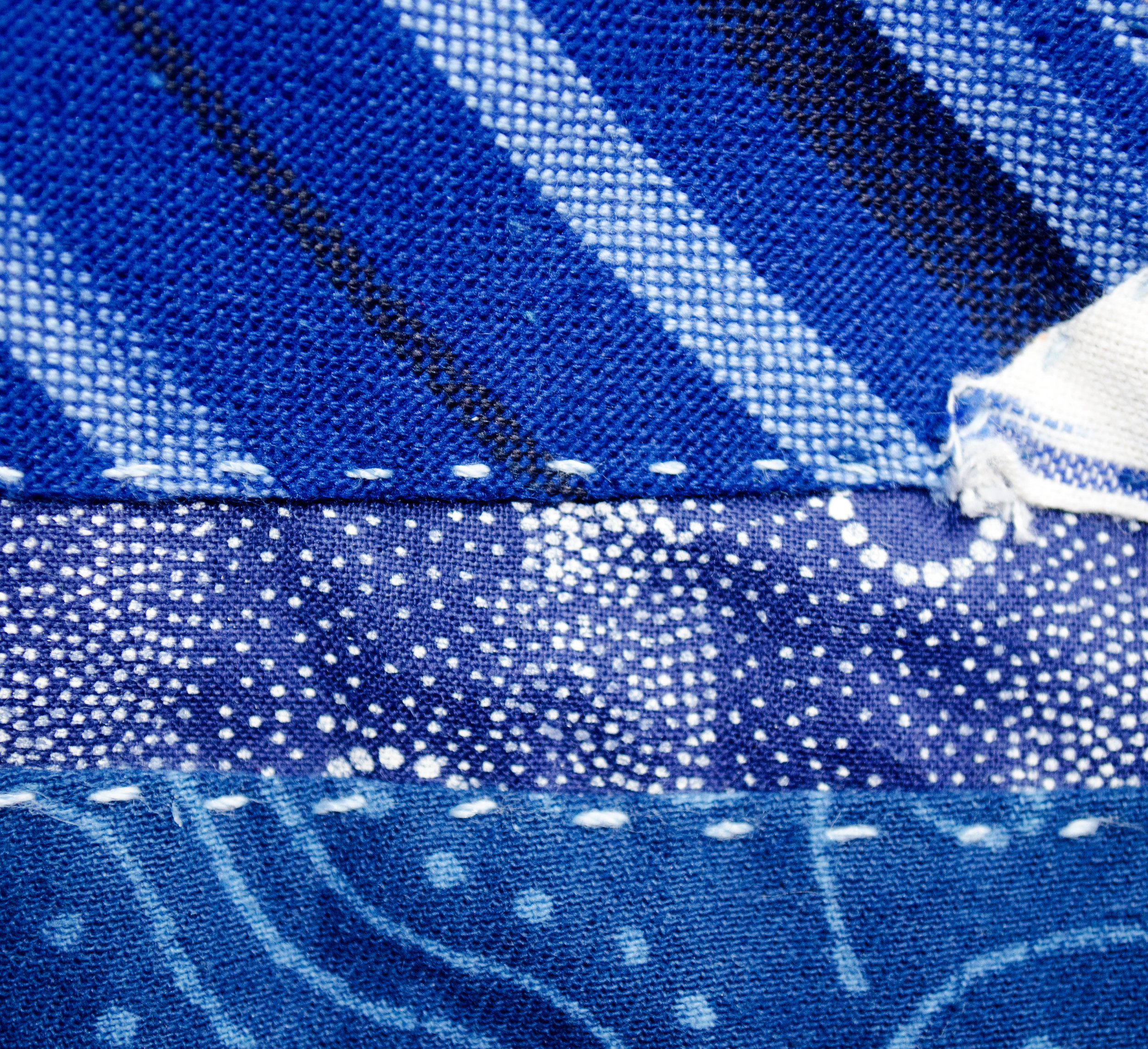 stitched cotton block prints and woven stripes