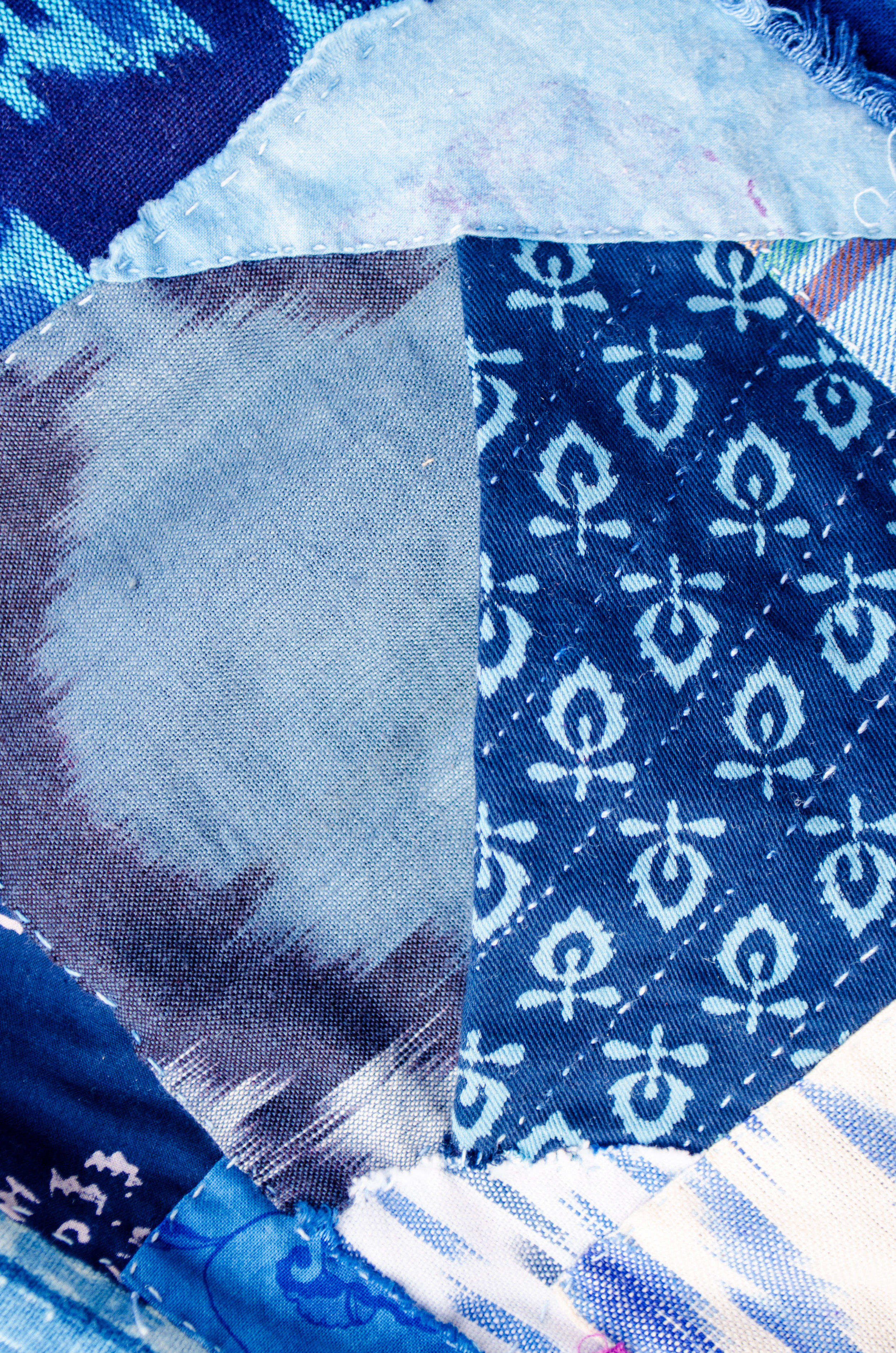 Block Printed Indian Cotton Stitched in the Boro Tradition