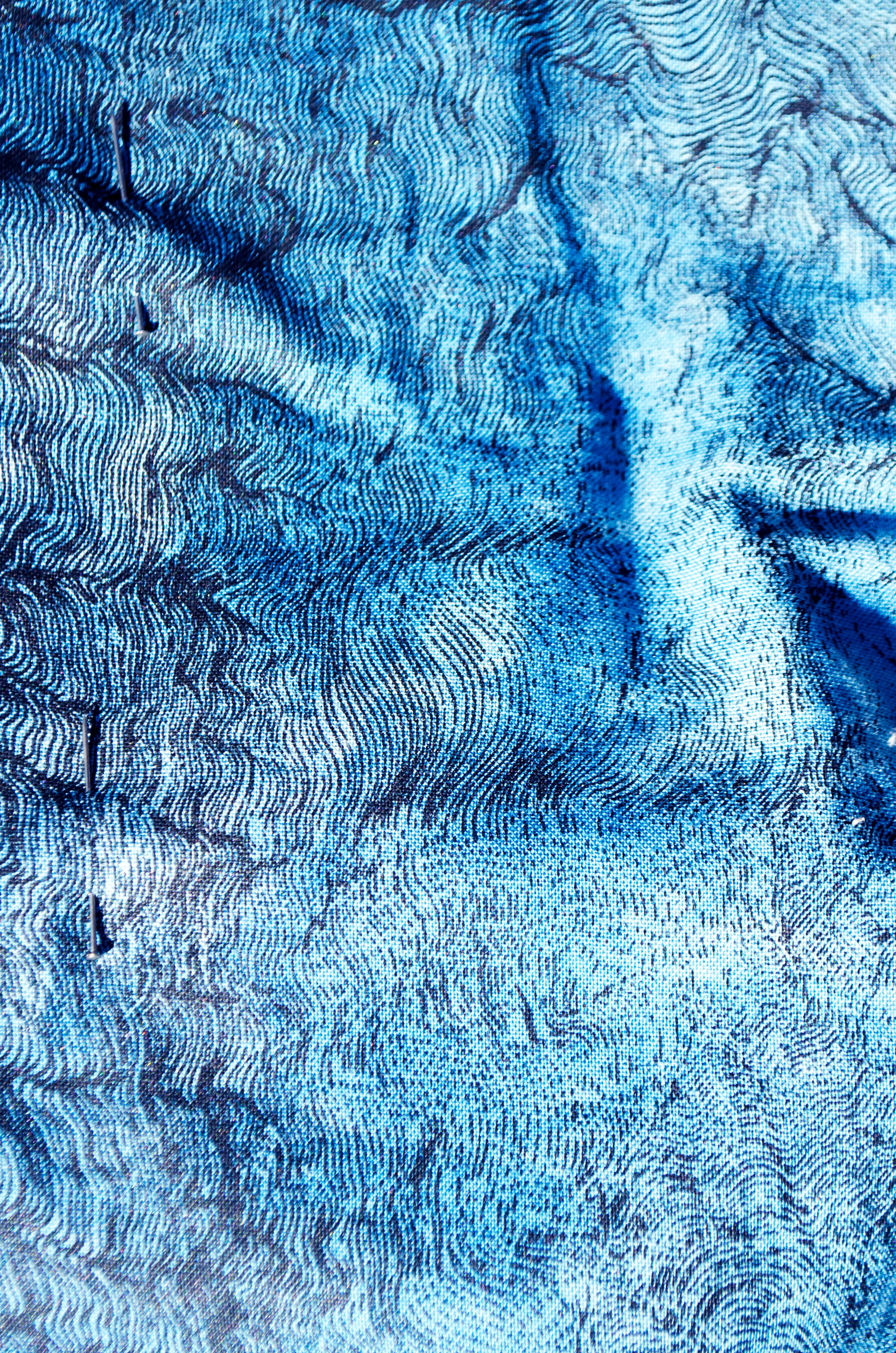 Screen printed cotton overdyed in the indigo vat
