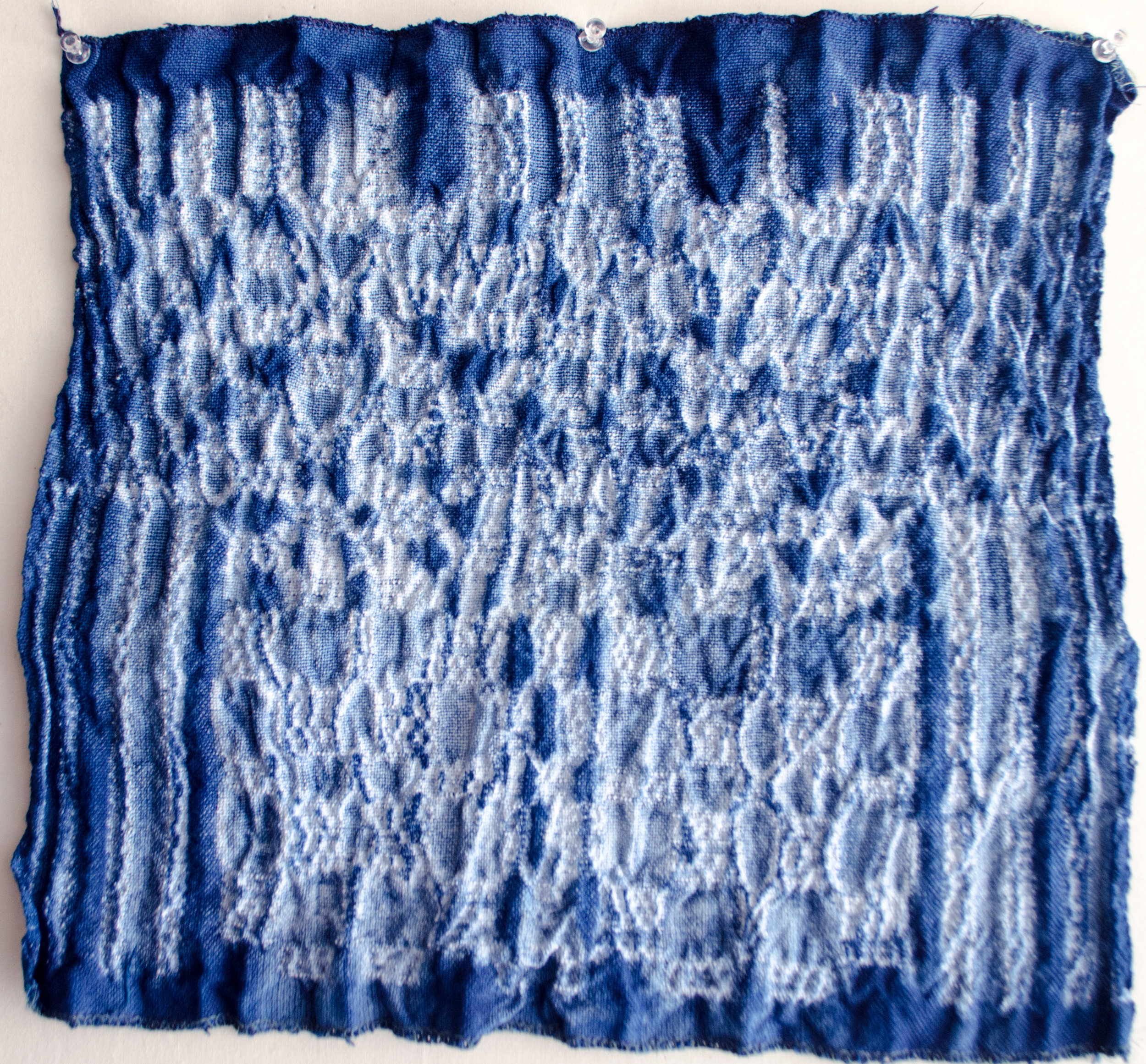 Carlyn Clark dipped this woven shibori perle cotton by Ginny Mateen
